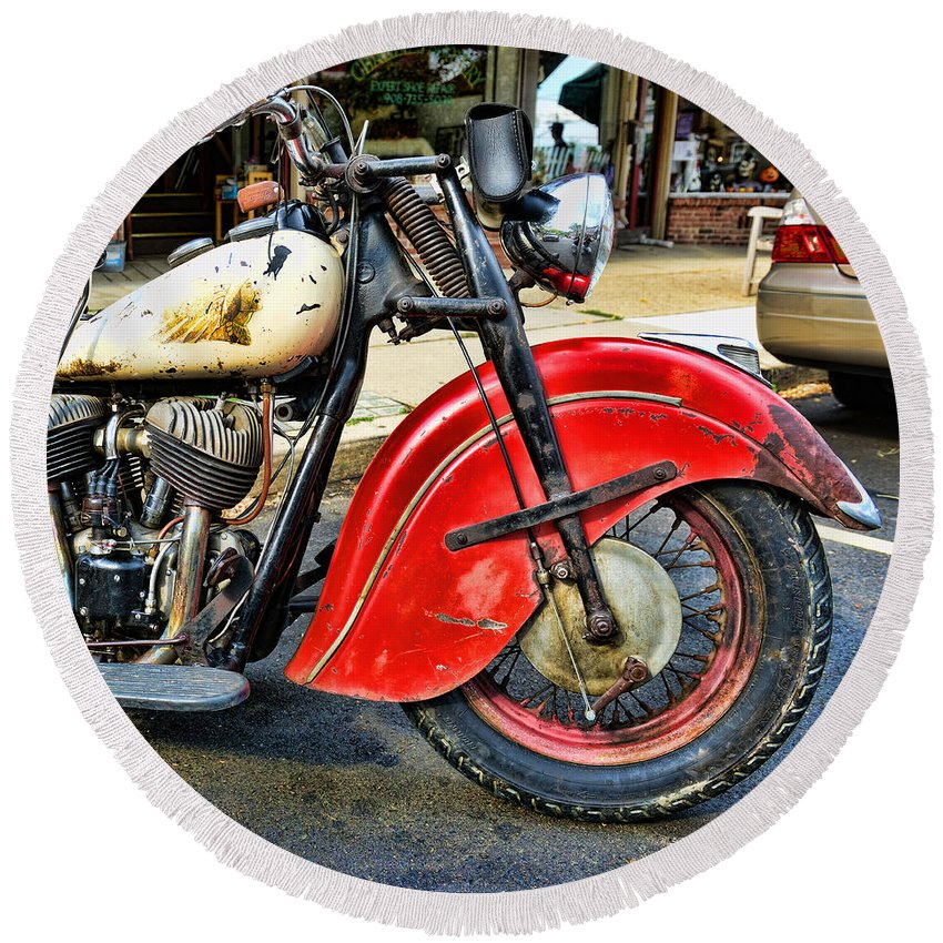 Paul Ward Round Beach Towel featuring the photograph Vintage Indian Motorcycle - Live To Ride by Paul Ward