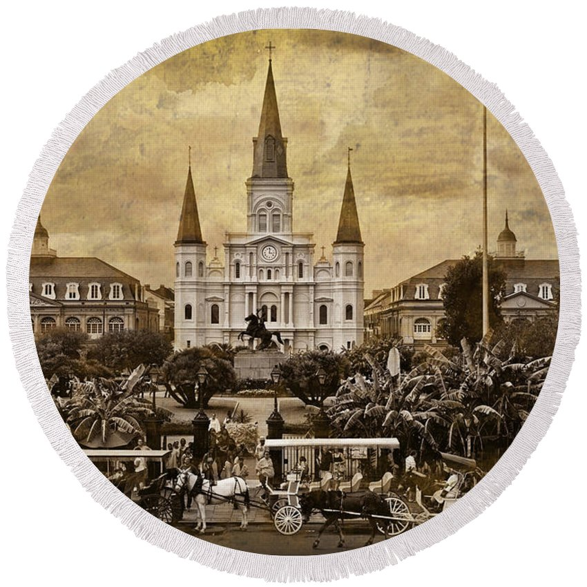 French Quarter Round Beach Towel featuring the photograph Vintage Jackson Square by Diana Powell