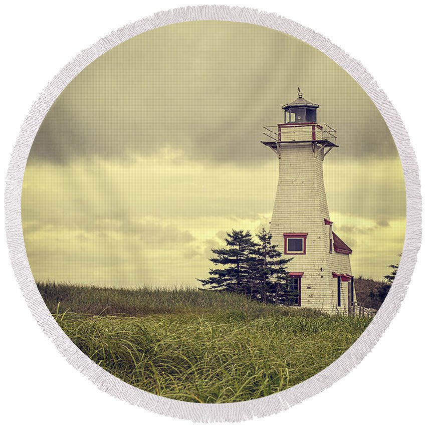 Prince Round Beach Towel featuring the photograph Vintage Lighthouse Pei by Edward Fielding