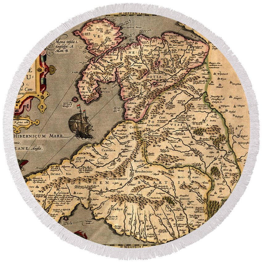 Wales Round Beach Towel featuring the photograph Vintage Map Of Wales 1633 by Andrew Fare