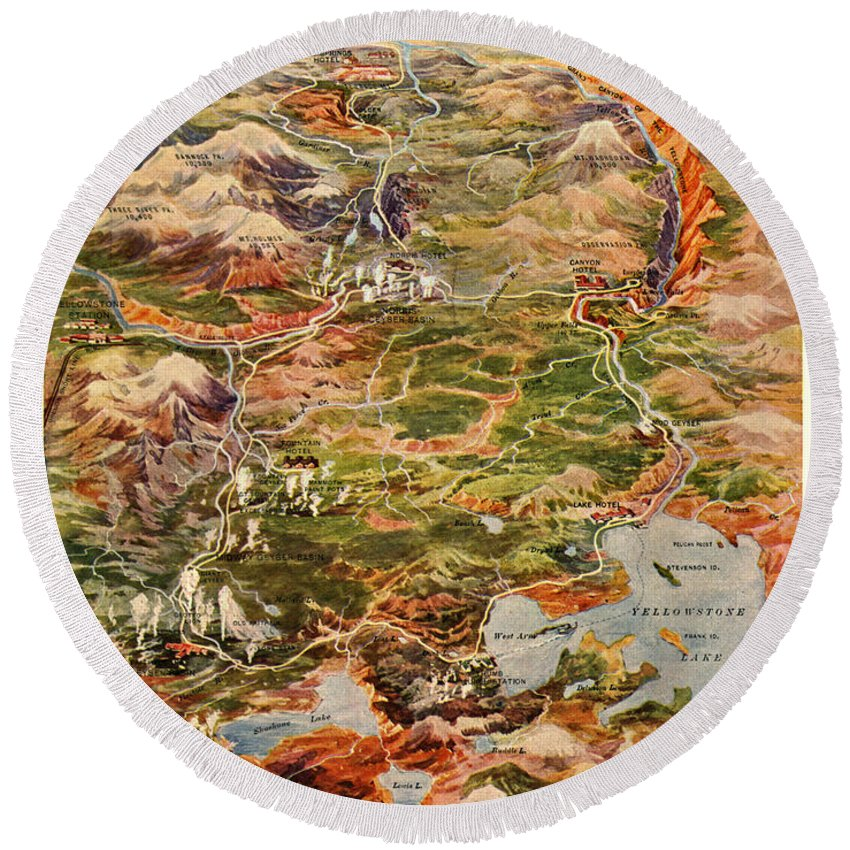 Vintage Round Beach Towel featuring the photograph Vintage Map Of Yellowstone National Park by Edward Fielding