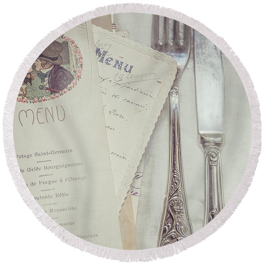 Menu Round Beach Towel featuring the photograph Vintage Menu Cards Knife And Fork by Elisabeth De vries