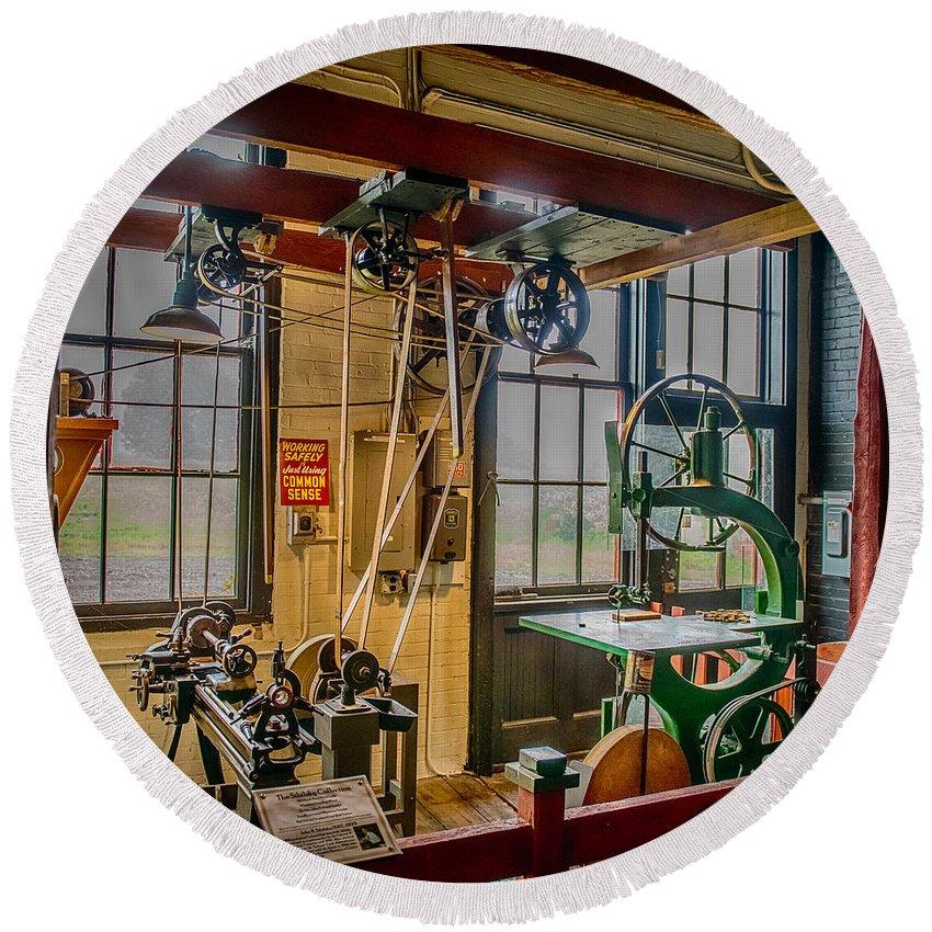 Machine Shop Round Beach Towel featuring the photograph Vintage Michigan Machine Shop by Paul Freidlund