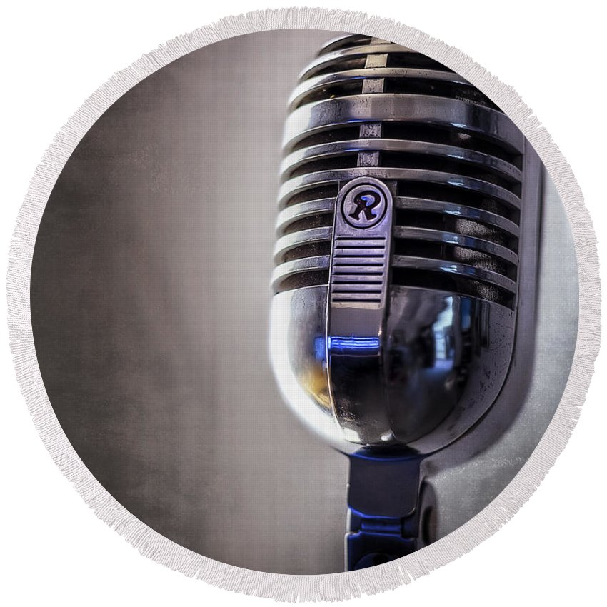 Mic Round Beach Towel featuring the photograph Vintage Microphone 2 by Scott Norris