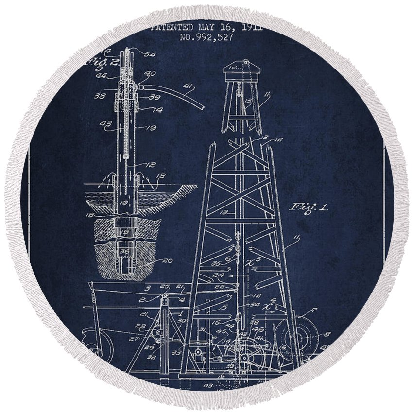Oil Round Beach Towel featuring the digital art Vintage Oil Drilling Rig Patent From 1911 by Aged Pixel