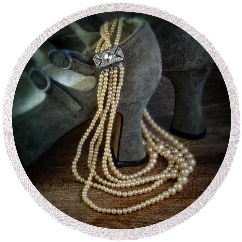 Shoes Round Beach Towel featuring the photograph Vintage Pearls And Shoes by Jill Battaglia