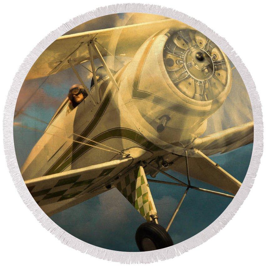 Plane Round Beach Towel featuring the photograph Vintage Plane In Flight by Jill Battaglia