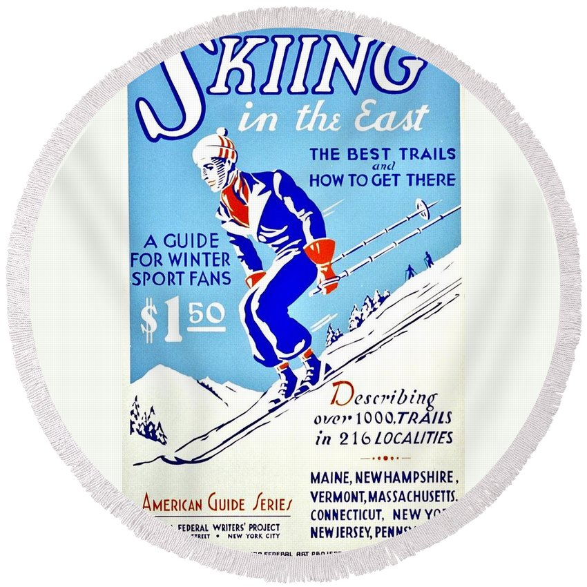 Vintage Round Beach Towel featuring the photograph Vintage Poster - Sports - Skiing by Benjamin Yeager