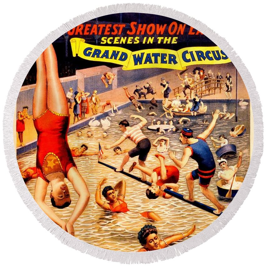 Vintage Round Beach Towel featuring the photograph Vintage Poster - Circus - Barnum Bailey Water by Benjamin Yeager