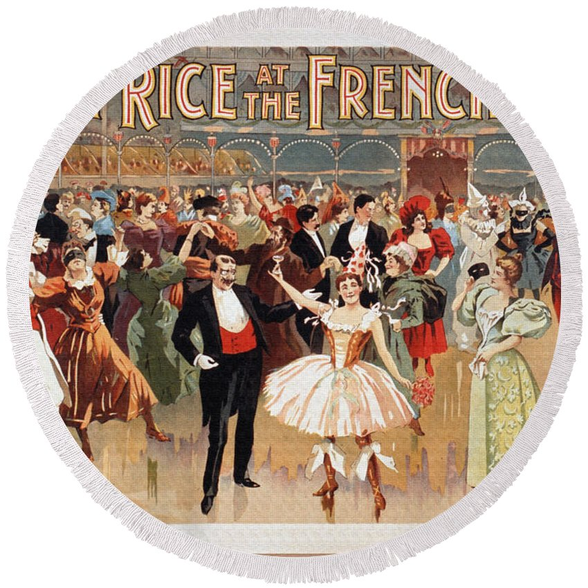 Vintage Round Beach Towel featuring the digital art Vintage Poster Fanny Rice At The French Ball by R Muirhead Art