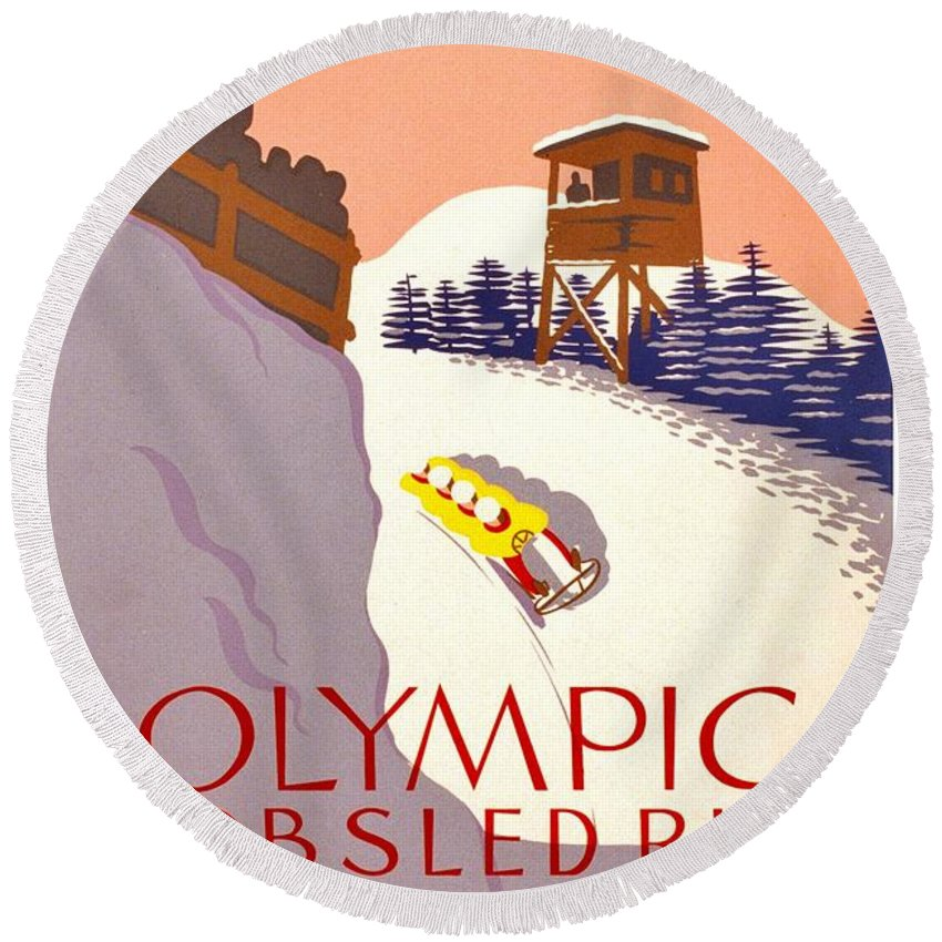 Poster Round Beach Towel featuring the photograph Vintage Poster - Olympics - Lake Placid Bobsled by Benjamin Yeager