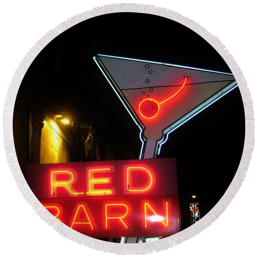 Las Vegas Round Beach Towel featuring the photograph Vintage Red Barn Neon Sign Las Vegas by John Malone