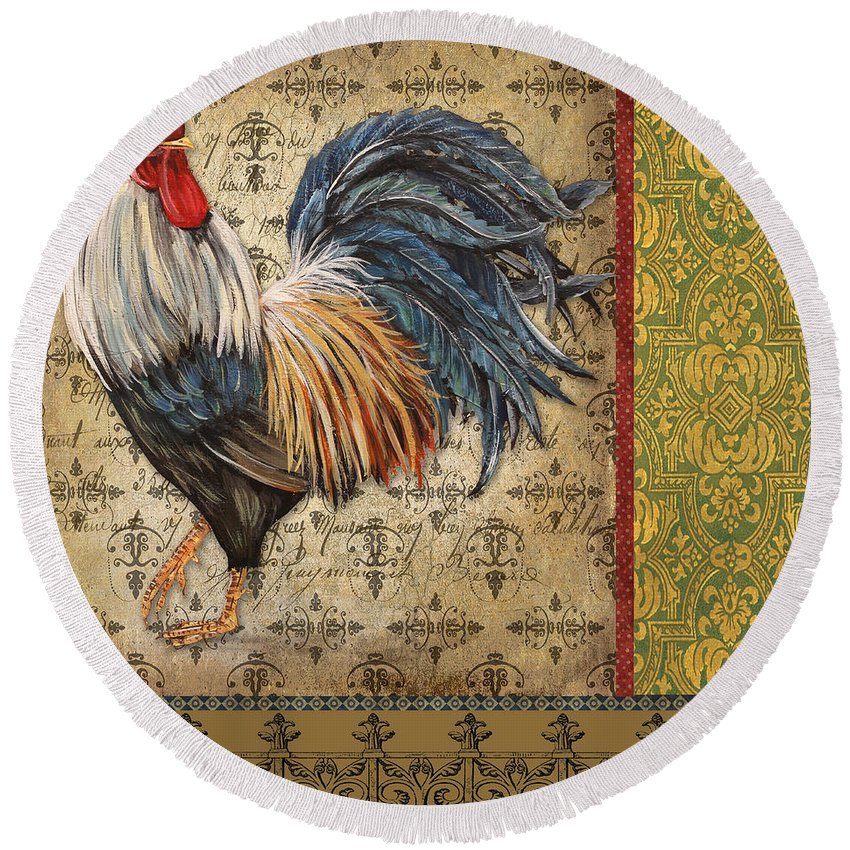 Rooster Round Beach Towel featuring the painting Vintage Rooster-c by Jean Plout