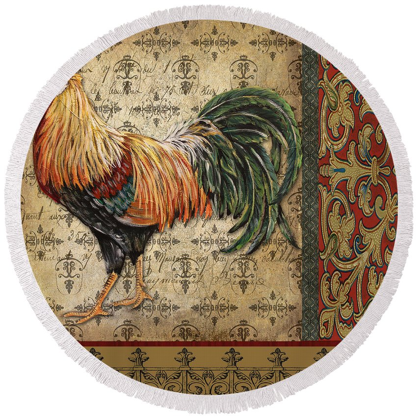 Rooster Round Beach Towel featuring the painting Vintage Rooster-d by Jean Plout