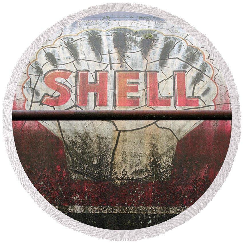 Train Round Beach Towel featuring the photograph Vintage Shell Oil Rail Tanker Car by Paul Fell