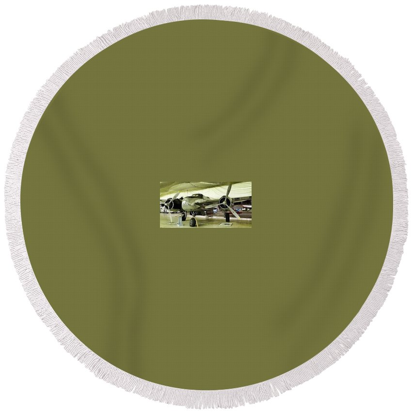 Vintage Airplane Round Beach Towel featuring the photograph Vintage Silver Bomber Airplane by Susan Garren