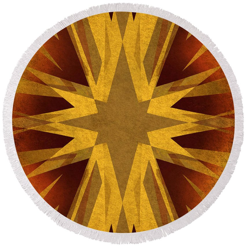 Background Round Beach Towel featuring the digital art Vintage Star by Steve Ball