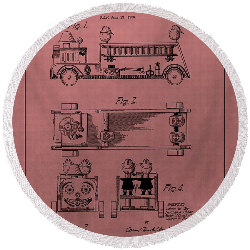 Vintage Toy Fire Truck Patent Round Beach Towel featuring the mixed media Vintage Toy Fire Truck Patent by Dan Sproul