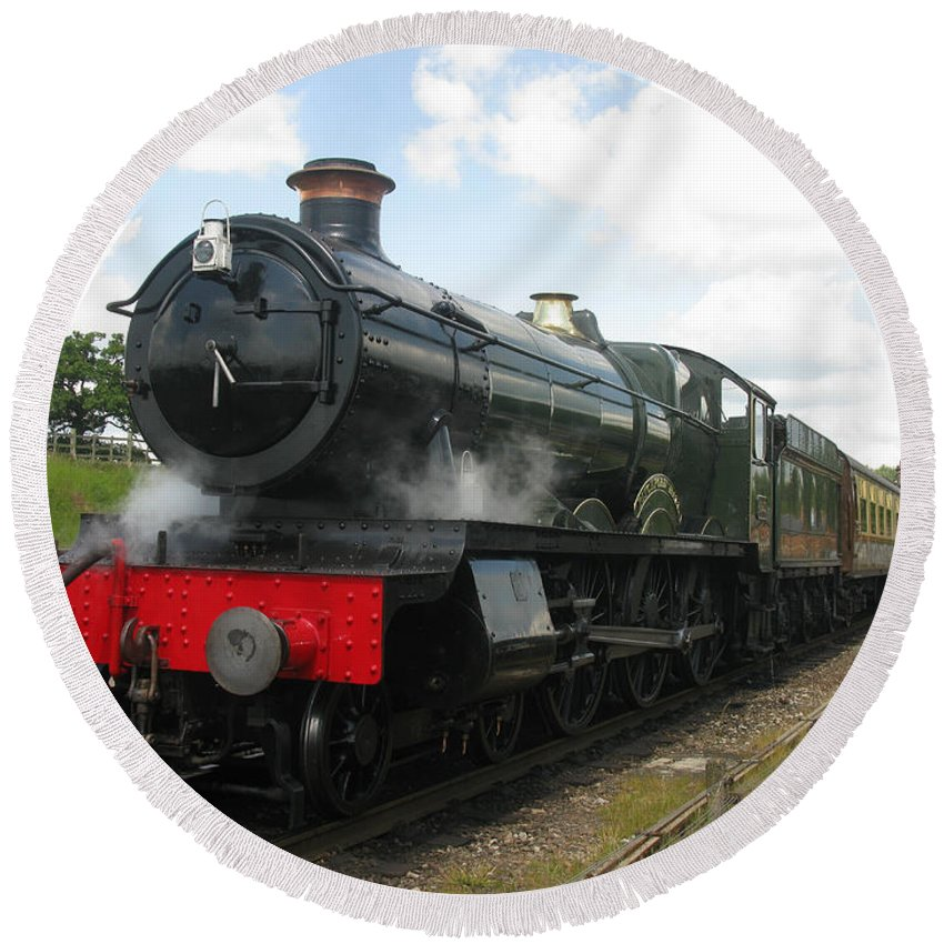 Railway Round Beach Towel featuring the photograph Vintage Train Black Steam Engine by Tom Conway