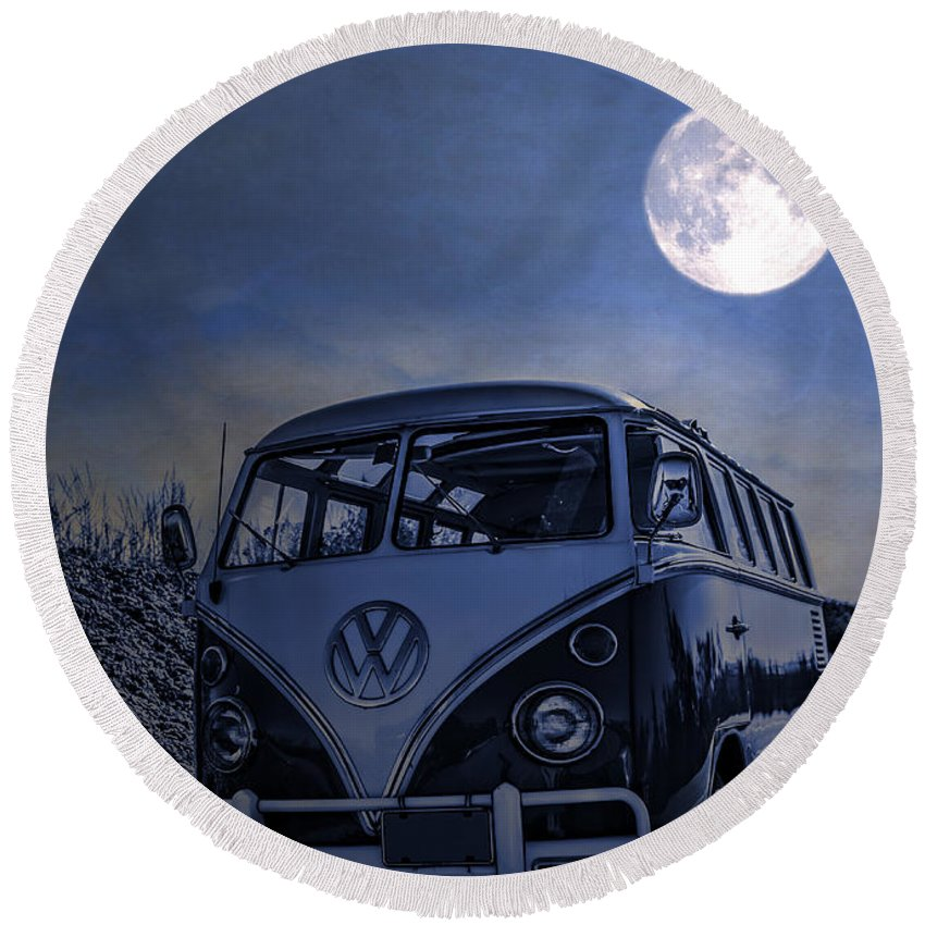 Full Round Beach Towel featuring the photograph Vintage Vw Bus Parked At The Beach Under The Moonlight by Edward Fielding