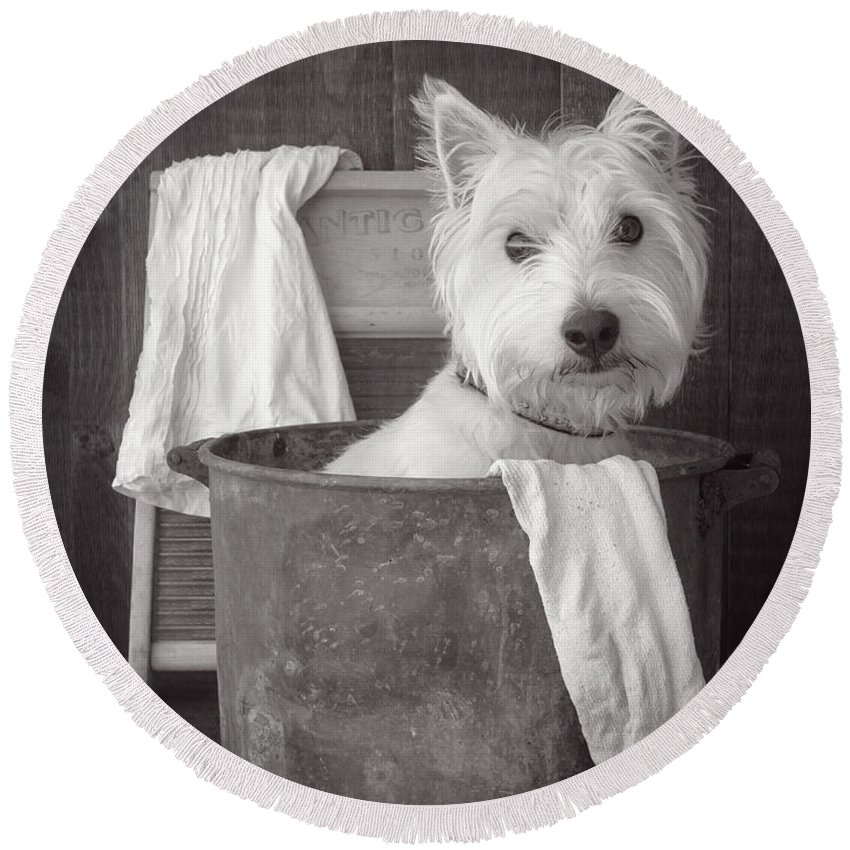 Cute Round Beach Towel featuring the photograph Vintage Wash Day by Edward Fielding
