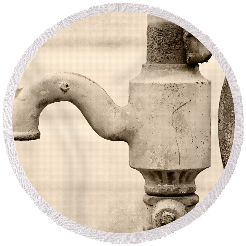 Vintage Water Pump Faucet In Sepia Round Beach Towel for Sale by ...