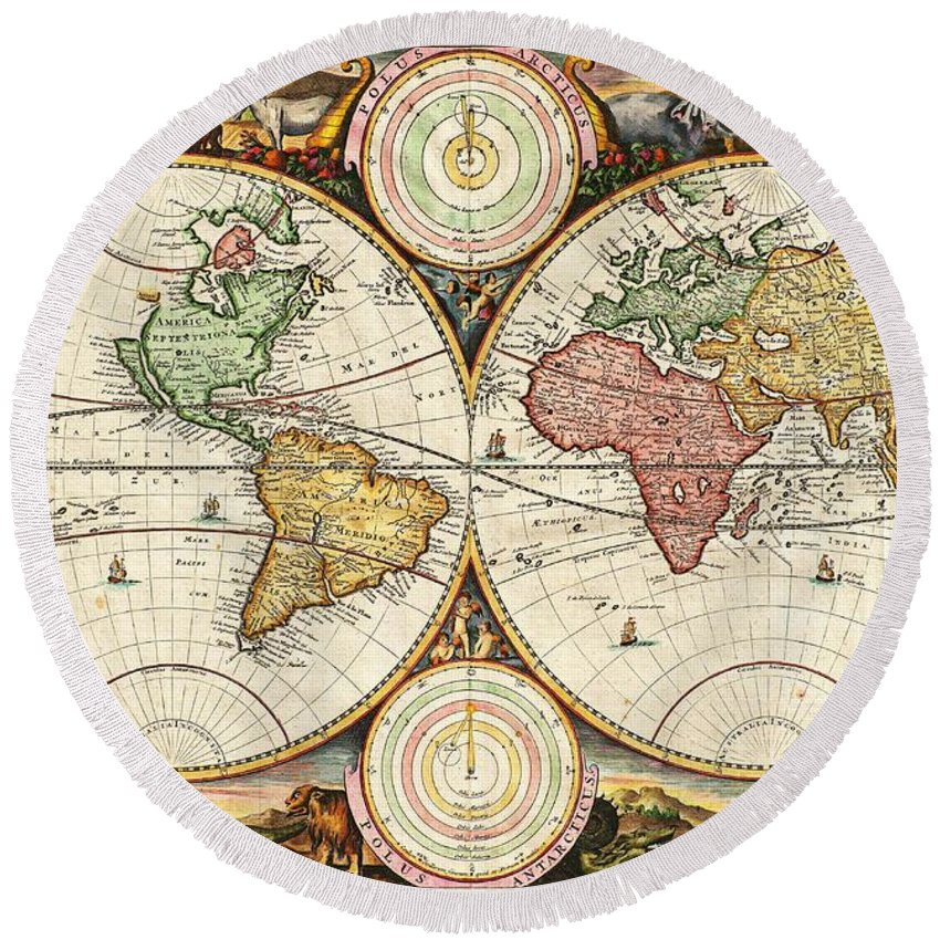 Vintage World Map Round Beach Towel For Sale By Daniel Stoopendaal