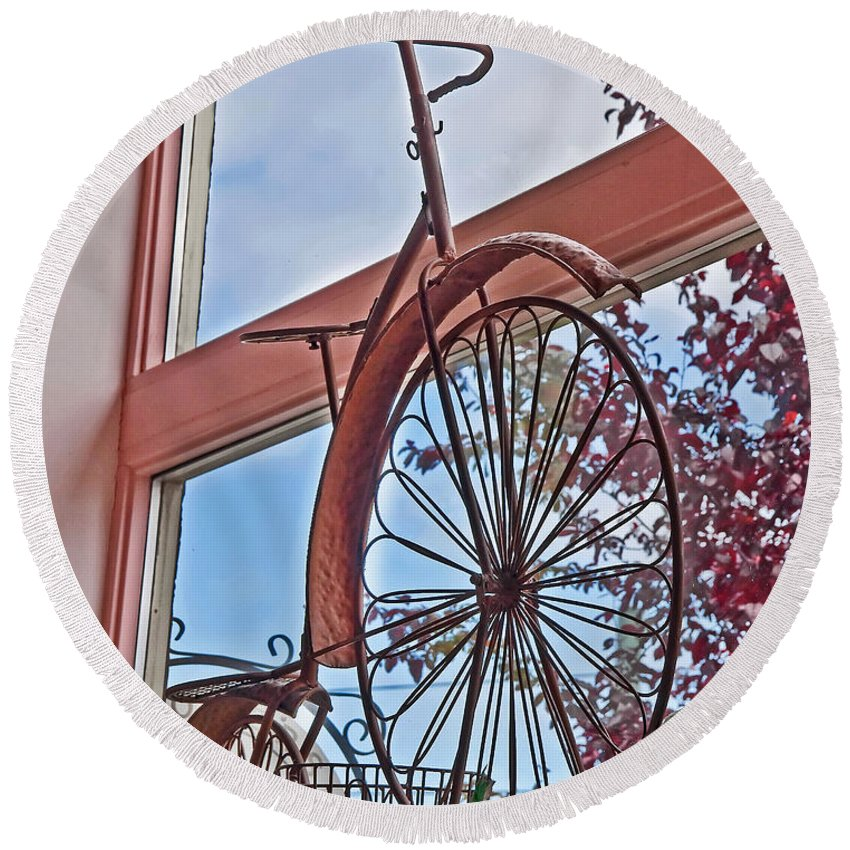 Still Life Round Beach Towel featuring the photograph Vintage Wrought Iron Bike In Window Art Prints by Valerie Garner