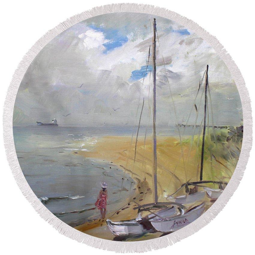 Virginia Beach Round Beach Towel featuring the painting Viola In Virginia Beach by Ylli Haruni