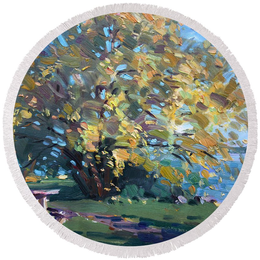 Fall Round Beach Towel featuring the painting Viola Walking In The Park by Ylli Haruni
