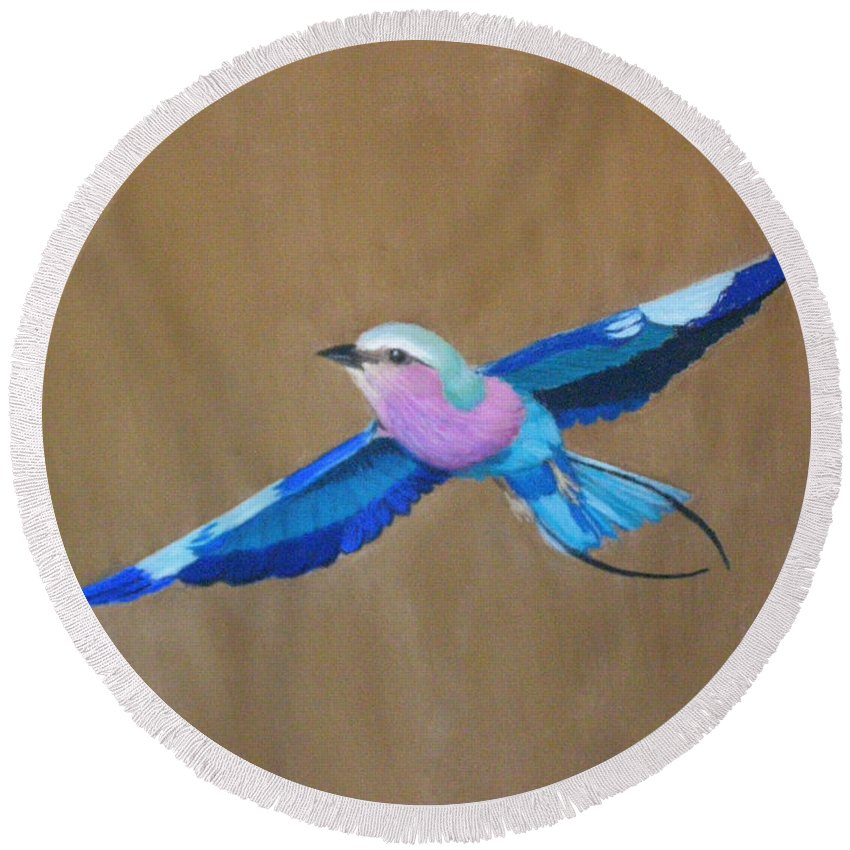 Colorful Bird Round Beach Towel featuring the painting Violet-breasted Roller Bird II by Lynn Quinn