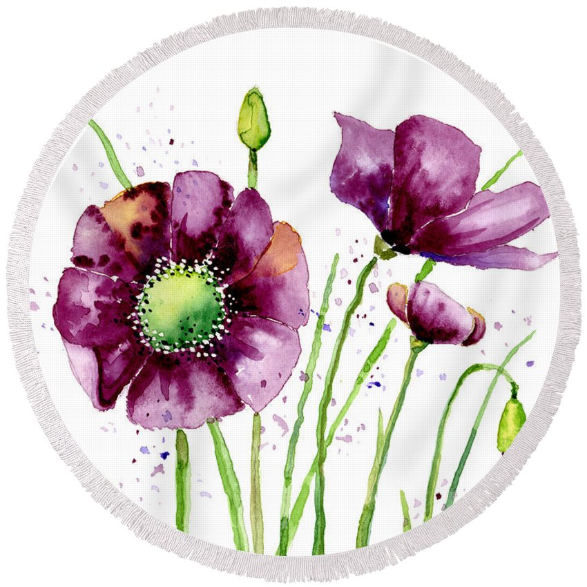 Poppy Round Beach Towel featuring the painting Violet Poppies by Annie Troe