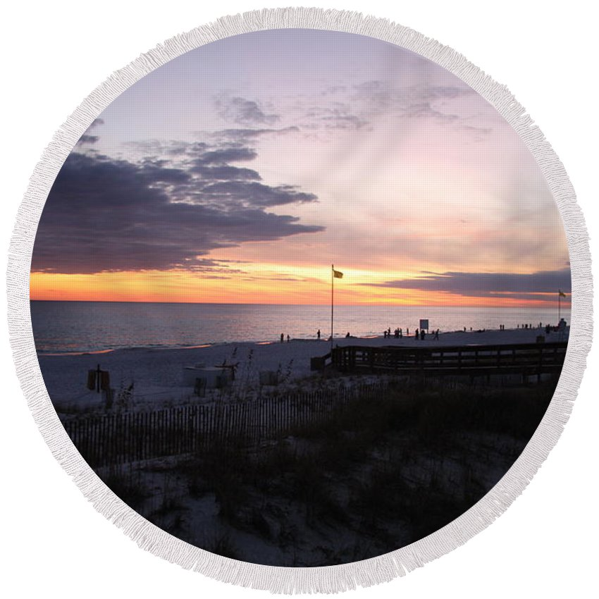 Beach Round Beach Towel featuring the photograph Violet Sunset Over The Sea by Christiane Schulze Art And Photography