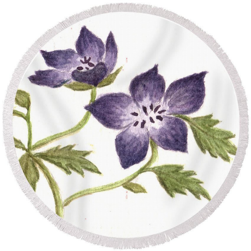 Violet Round Beach Towel featuring the painting Violet by Tis Art