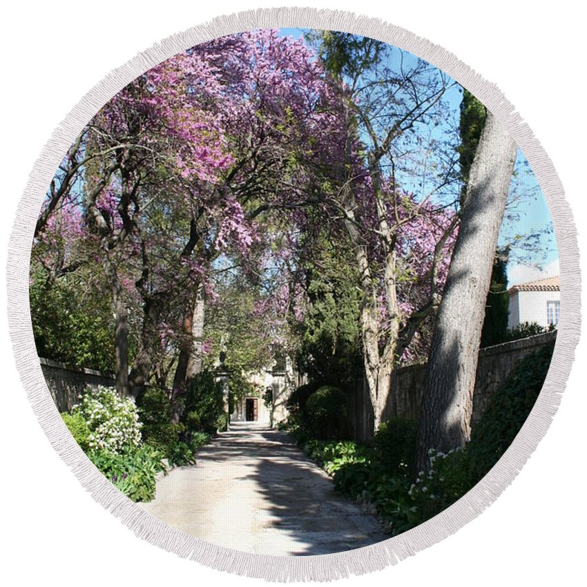 Alley Round Beach Towel featuring the photograph Violet Tree Alley by Christiane Schulze Art And Photography