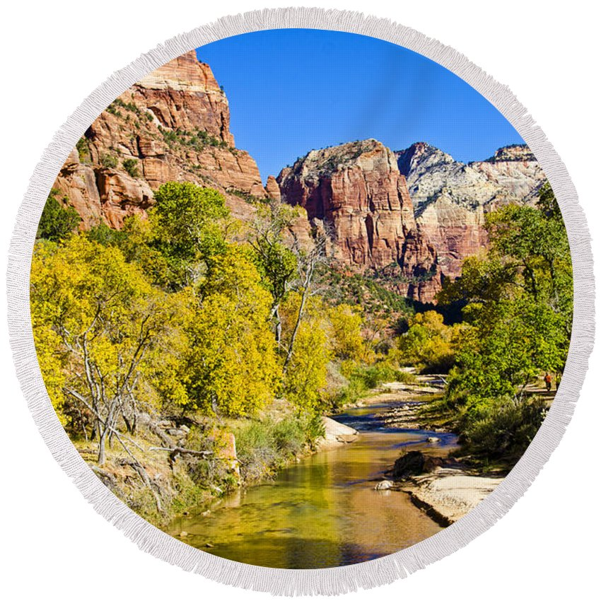 Zion National Park Utah Round Beach Towel featuring the photograph Virgin River - Zion by Jon Berghoff
