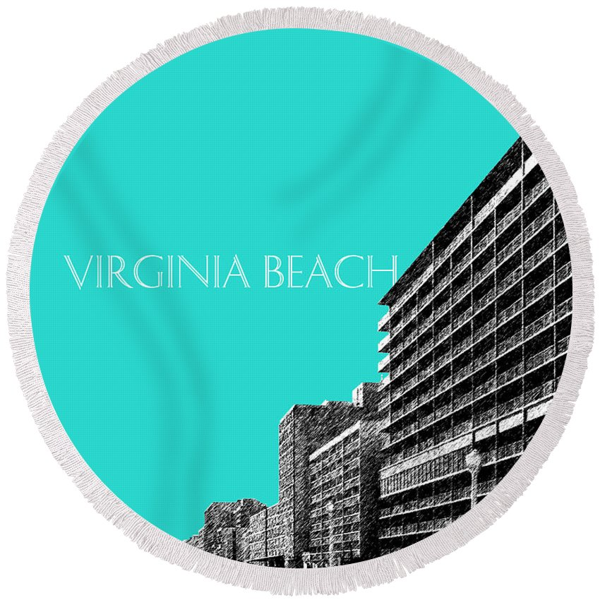 Architecture Round Beach Towel featuring the digital art Virginia Beach Skyline Boardwalk - Aqua by DB Artist