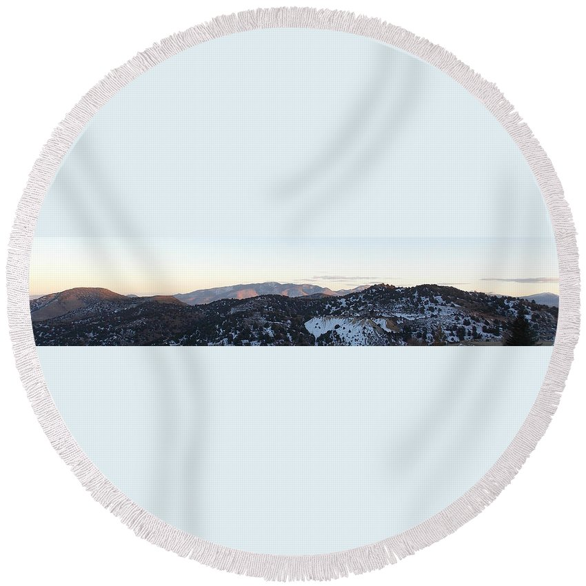 Round Beach Towel featuring the photograph Virginia City View by Brent Dolliver