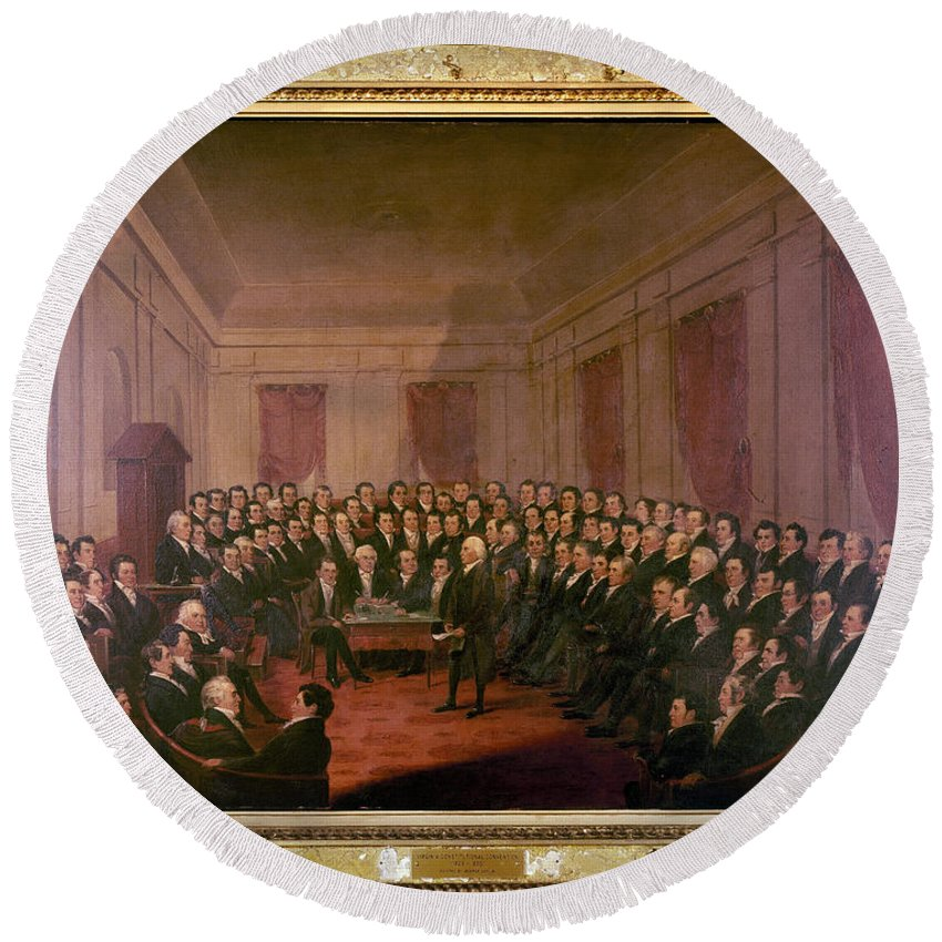 1830 Round Beach Towel featuring the painting Virginia Convention 1829 by Granger