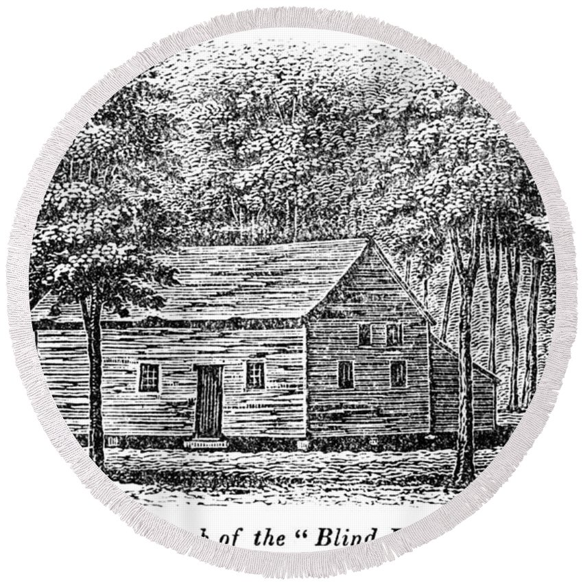 18th Century Round Beach Towel featuring the painting Virginia Rural Church by Granger