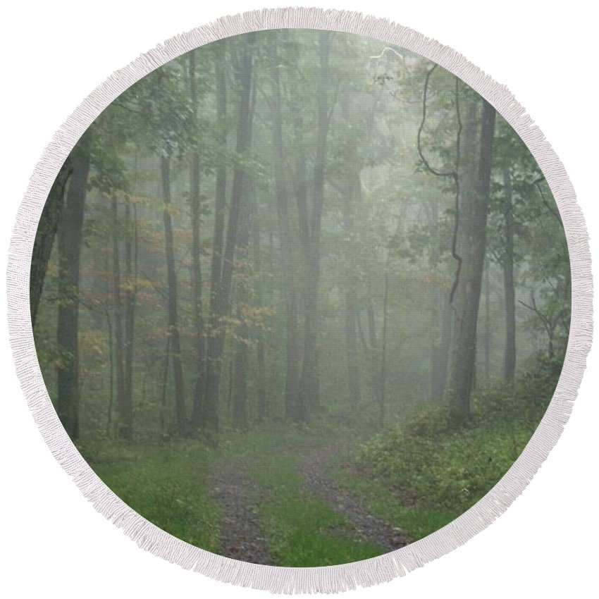 Shenandoah National Park Round Beach Towel featuring the photograph Virginia - Shenandoah National Park - Road Not Taken by Pamela Critchlow
