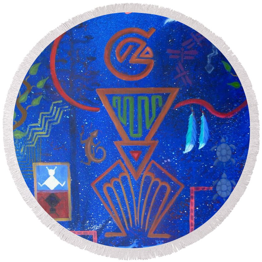 Round Beach Towel featuring the painting Vision Quest by Jeff Sartain