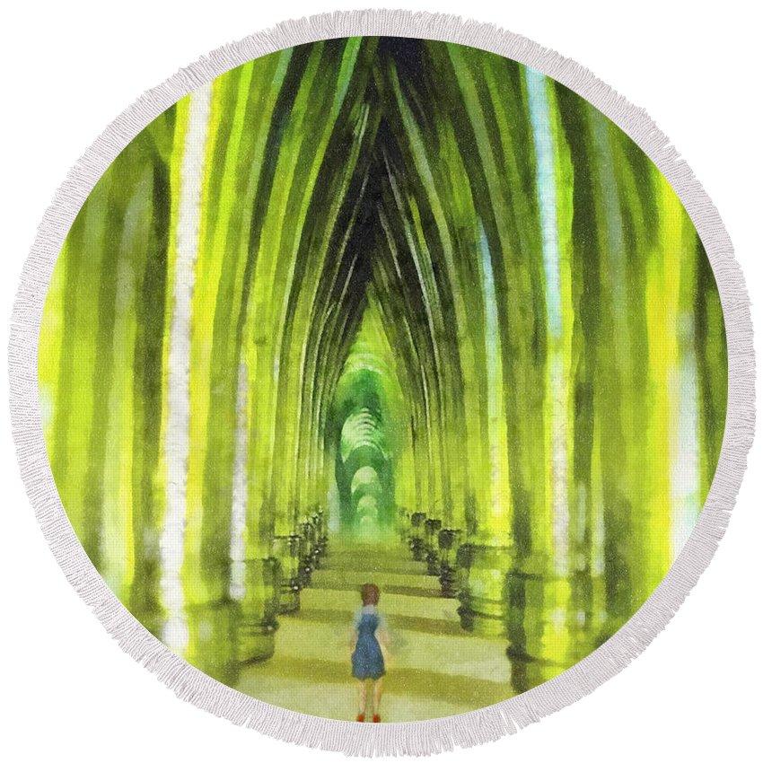 Visiting Emerald City Round Beach Towel featuring the painting Visiting Emerald City by Mo T