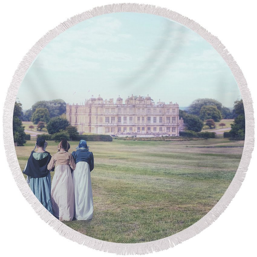 Woman Round Beach Towel featuring the photograph visiting Mr Darcy by Joana Kruse