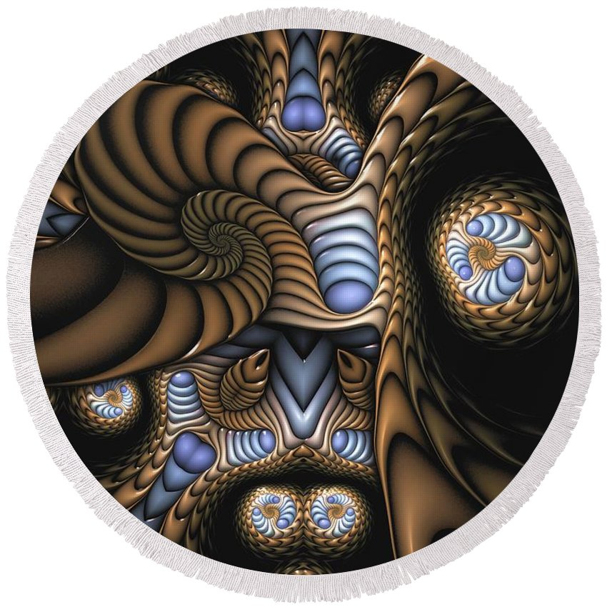 Abstract Round Beach Towel featuring the digital art Vitreous Inanity by Casey Kotas