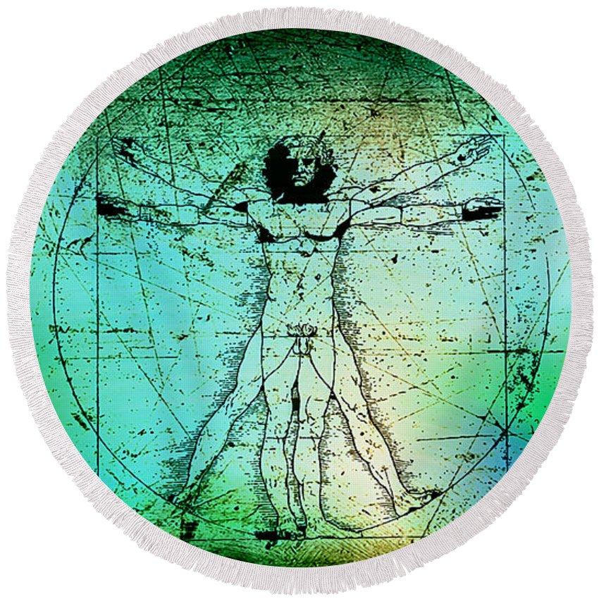 Vitruvian Man Drawings Round Beach Towel featuring the mixed media Vitruvian Man by Marvin Blaine