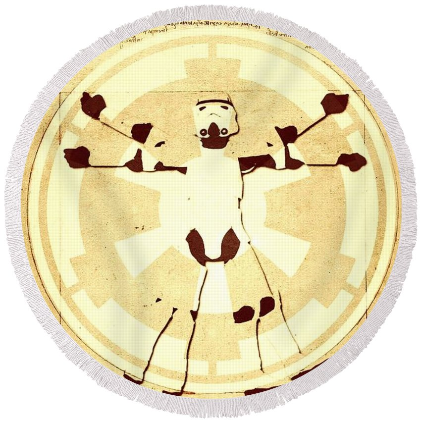 Imperial Round Beach Towel featuring the digital art Vitruvian Stormtrooper Ghost by Helge