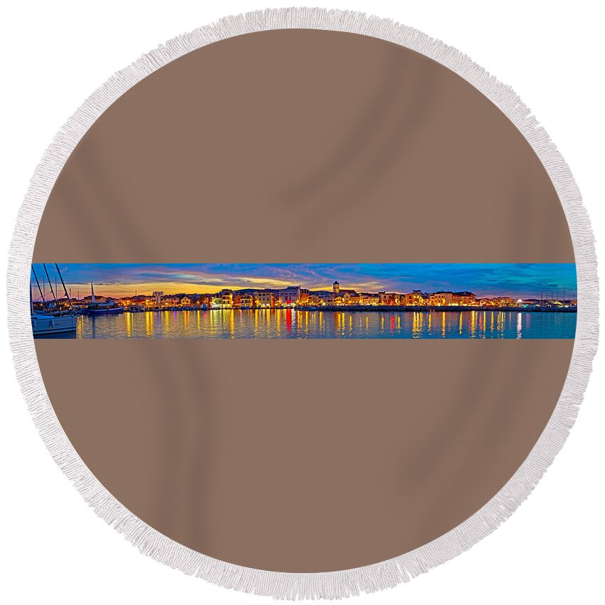 Croatia Round Beach Towel featuring the photograph Vodice Waterfront Colorfu Evening Panorama by Brch Photography