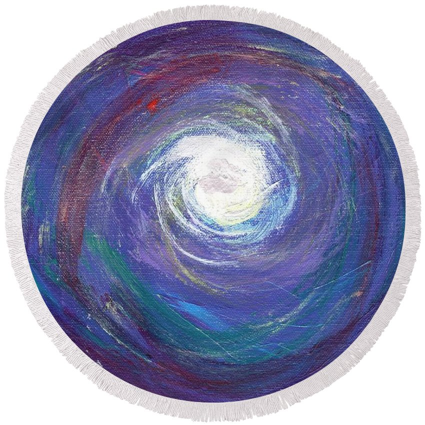 Cosmic Round Beach Towel featuring the painting Vortex Of Love by Craig Imig