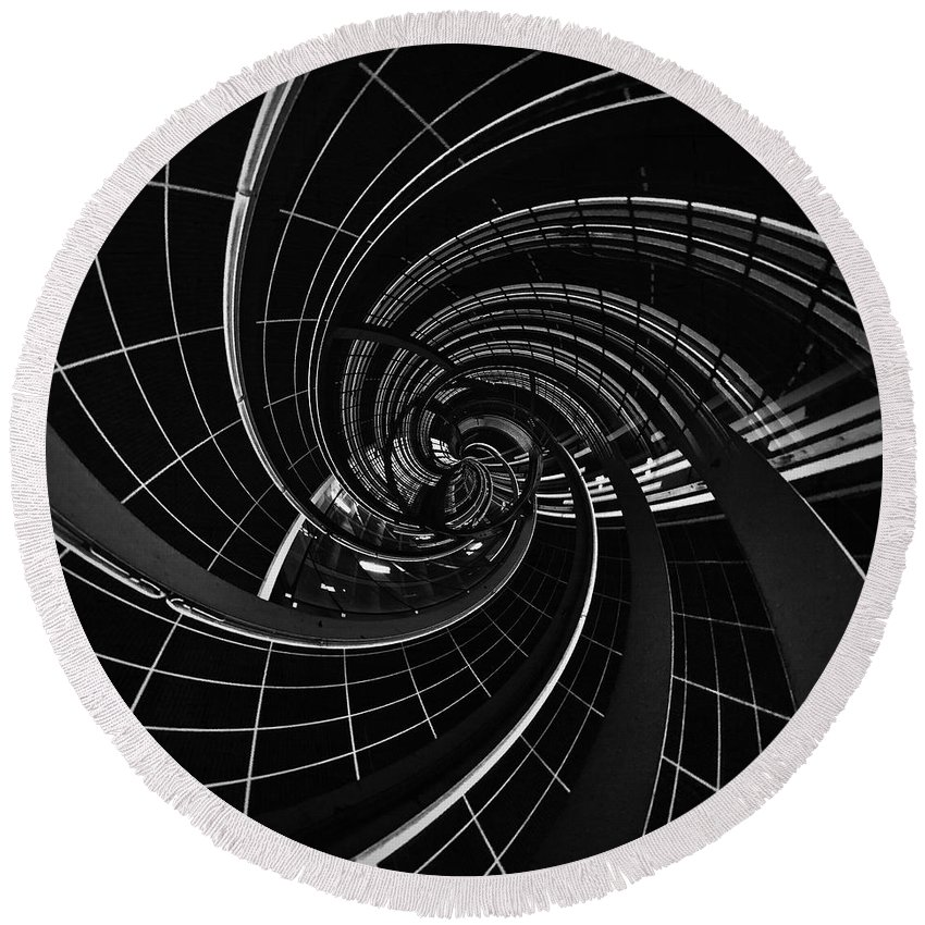 Black And White Round Beach Towel featuring the photograph Vortex 5 by Mark David Gerson